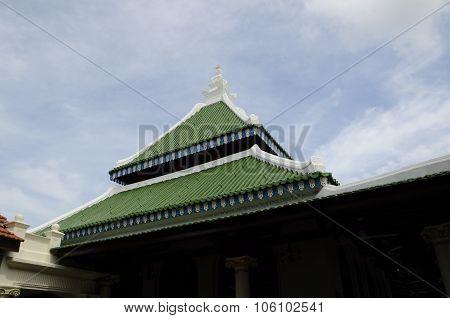 Roof design of Kampung Kling Mosque at Malacca, Malaysia