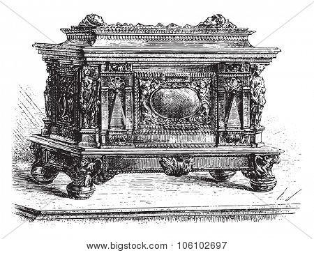 Set of ancient guild of carpenters Strasbourg, vintage engraved illustration. Magasin Pittoresque 1882.