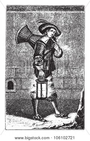 Pastry chef in 1630, vintage engraved illustration. Magasin Pittoresque 1882.