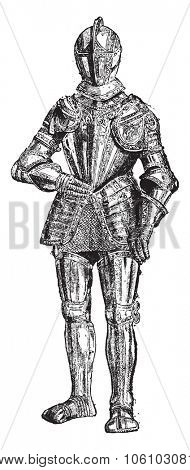 Armour, vintage engraved illustration. Dictionary of words and things - Larive and Fleury - 1895.