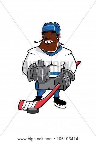 Cartoon ice hockey player with thumb up