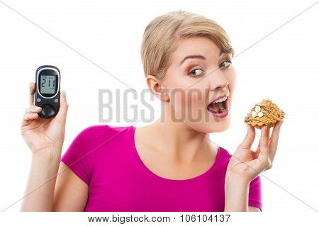 Shocked Woman Holding Glucometer And Fresh Cupcake, Measuring Sugar Level, Concept Of Diabetes