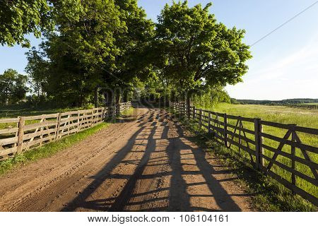 Dirt road in the rural area  wooden fence