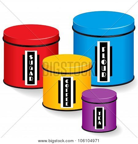 Kitchen Canisters With Art Deco Labels