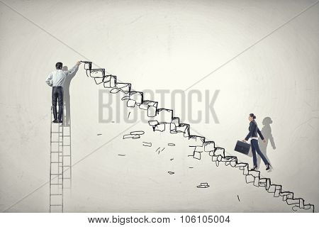 Businesswoman climbing up staircase as symbol of career rise