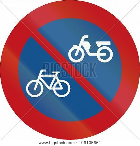 A Dutch Prohibition Sign - No Parking Of Mopeds And Bicycles
