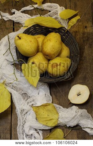 Still-life With Pears And An Autumn Branch