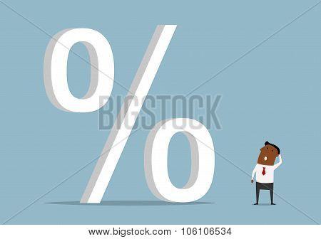 Black businessman with huge credit percents