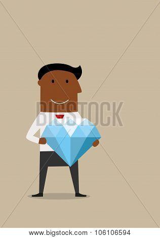 Happy cartoon businessman with big diamond
