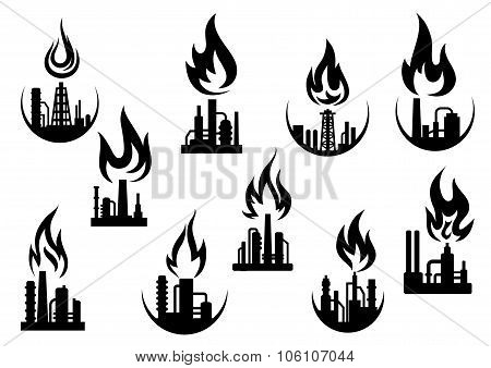 Black icons of industrial plants and factories