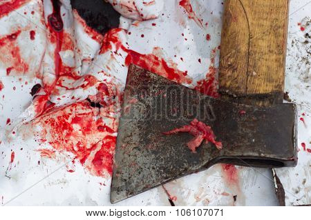 Close-up Bloody Axe And Small Pool Of Blood