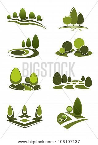 Green park and garden landscape icons