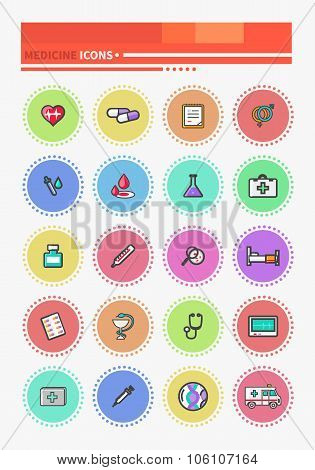 Set of Outline Medicine Icons