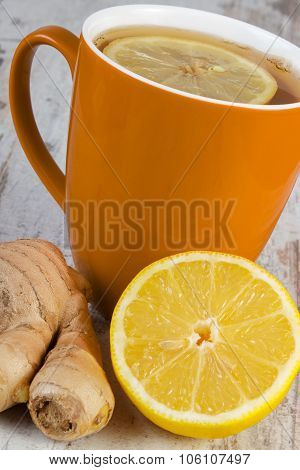 Fresh Lemon, Ginger And Cup Of Tea On Wooden Table, Healthy Nutrition