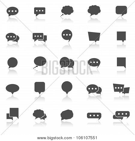 Speech Bubble Icons With Reflect On White Background