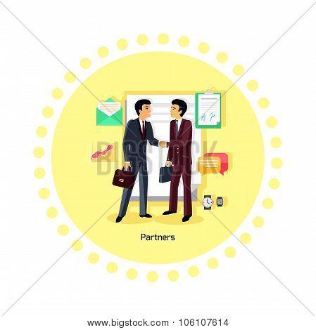 Partners People Icon Flat Design