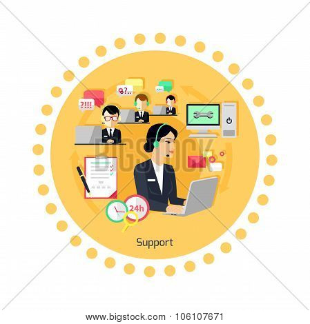 Support Concept Icon Flat Design
