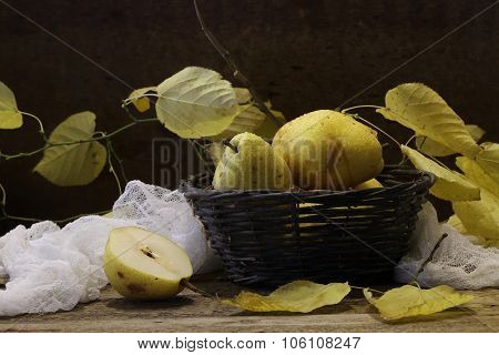 Pears In A Wattled Basket, Walnuts And A Branch Of An Autumn Linden