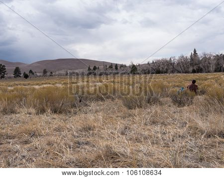 Backpacker Sits And Stares At Dunes At Great Sand Dunes National Park