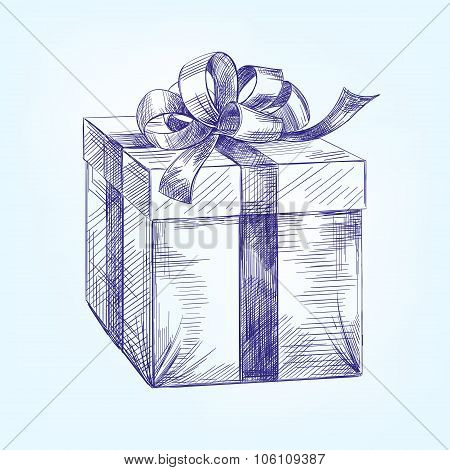 gift box  hand drawn vector llustration   sketch