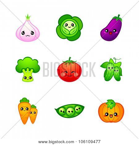 Kawaii vegetables icons or stickers with emotions