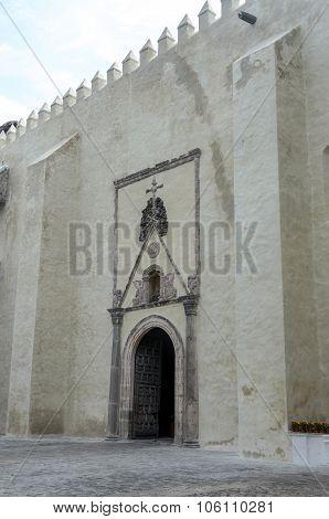 Cuernavaca Cathedral Side Door With Crossed Bones