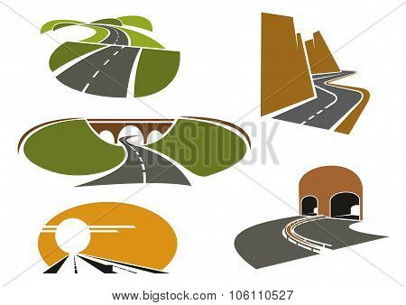 Speed roads, freeways, underpass and highways