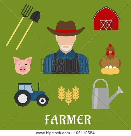 Farmer and agriculture flat icons
