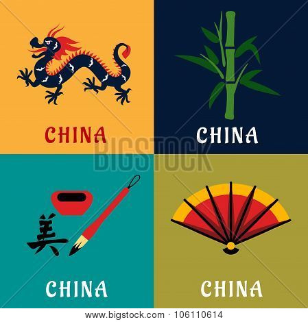 China culture and tradition flat icons