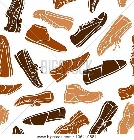 Seamless Pattern Men's Shoes In Brown And Beige Colors