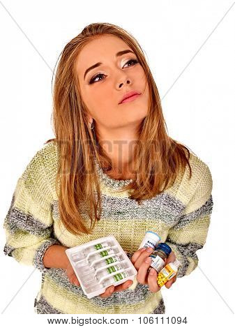 Woman with Hands on sick Stomach.  Girl holding medicine and ampoules . Isolated.