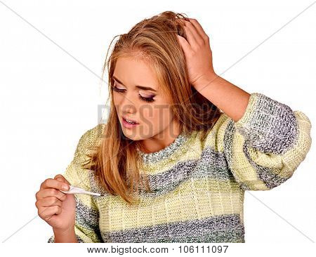 Woman with hands on sick head. High temperature. Isolated.
