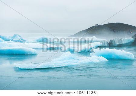 Blue Icebergs In Jokulsarlon Glacial Lagoon, Southern Iceland