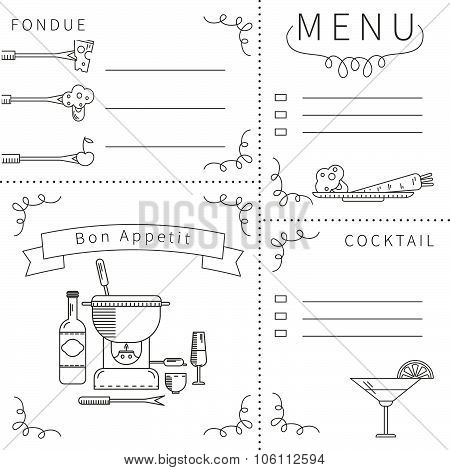 Menu template fondue