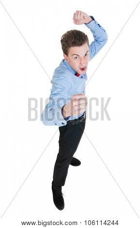 skinny guy funny fights waving his arms and legs. Isolated over white background. Funny guy clumsily boxing. Angry referee