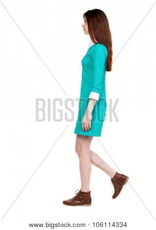 side view of walking  woman in dress. beautiful girl in motion.  backside view of person.  Rear view people collection. Isolated over white background. Girl in retro dress goes from left to right.