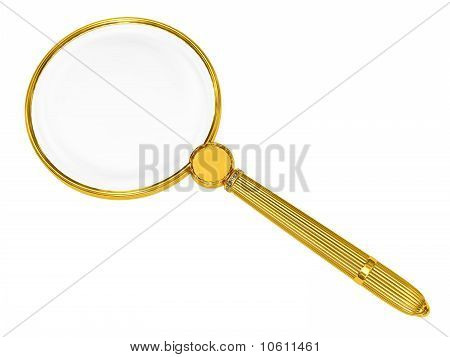 Golden Magnifying Glass Isolated On White