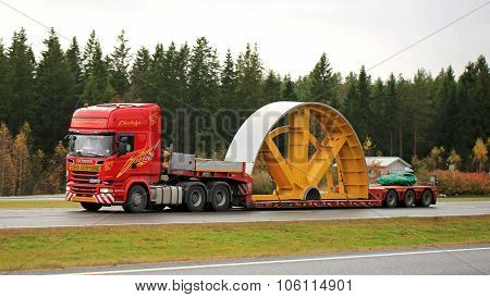 Scania R730 Hauls Industrial Object As Exceptional Load