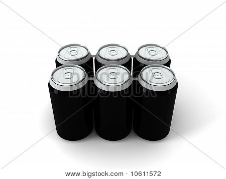3d illustration of six black aluminum cans
