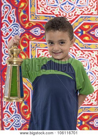 Adorable Young Boy With Large Ramadan Lantern