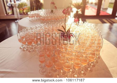 Many Glasses Of Champagne