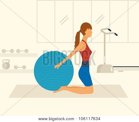 Cartoon illustration of a woman exercising with gymnastic ball.