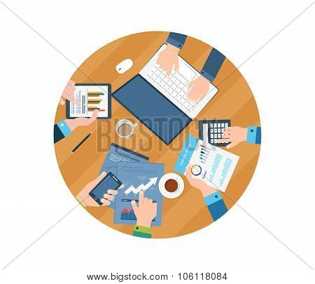 Concepts for business analysis, consulting, teamwork, financial report and strategy