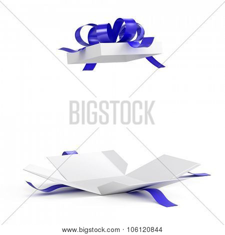 Open gift box with blue ribbon on white background