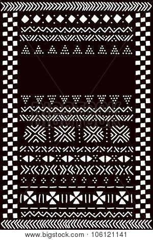 Black and white traditional african mudcloth fabric template for a banner, vector
