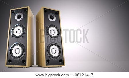 Two Big Audio Speakers boxes with empty space -  advertisement, music, concert, audio concept