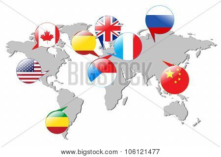 Flags of different countries on the white map.