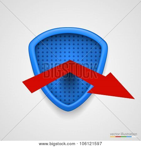 Shield reflect arrow. Protection conceprt. Vector
