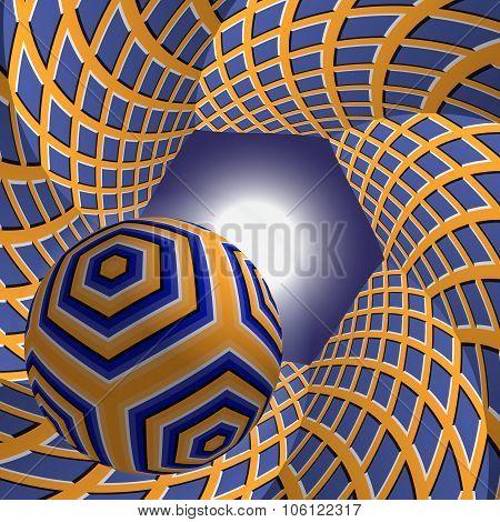 Ball flying to the sun through a hexagonal tunnel