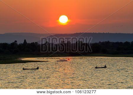 Sun Set Sky In Pasak Dam Lopburi Rural Scene Central Of Thailand